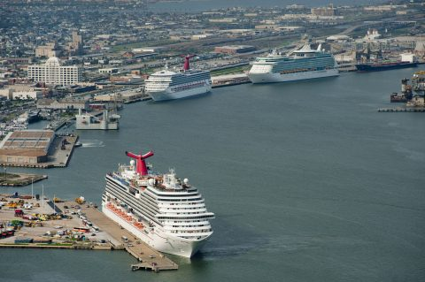 Zaui Software - Tourism Case Study - Aerial view of three cruise ships at the Port of Galveston