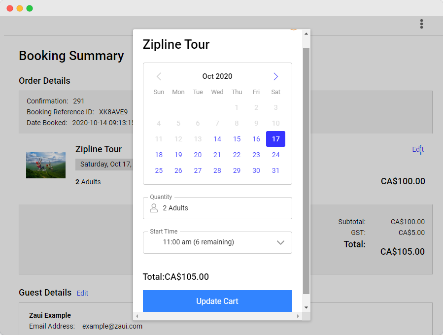 Self edit booking feature in the online booking engine for tour and transport operators