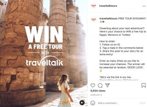 Instagram Giveaway sample for tour operators