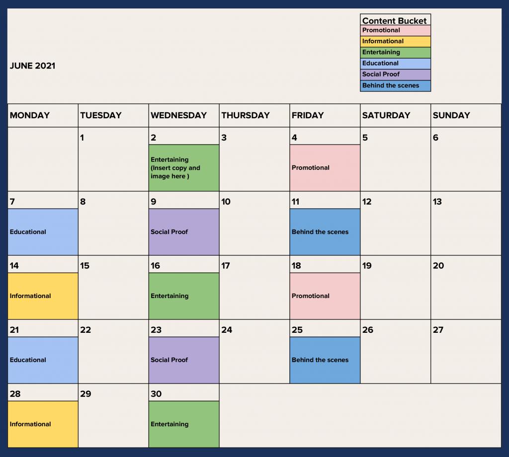 Social media calendar for tour and transport operators