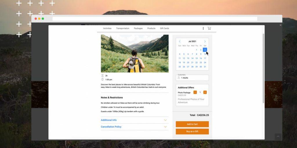 user friendly design for online booking engine
