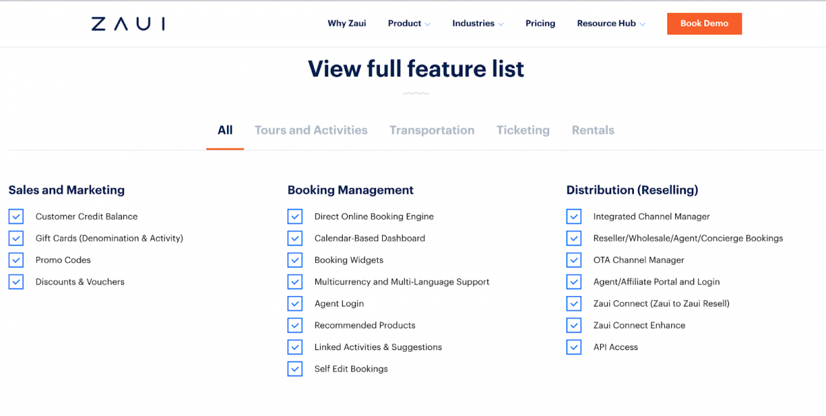 Features available for tours and transport operators in Zaui booking software