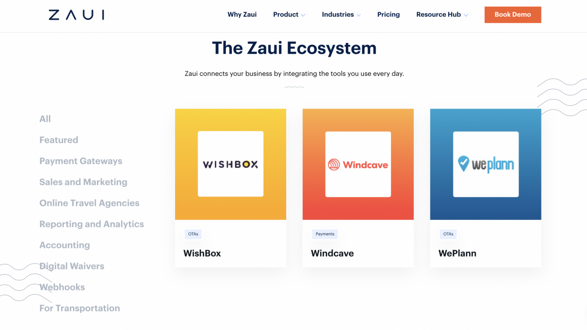 apps and integration available with Zaui