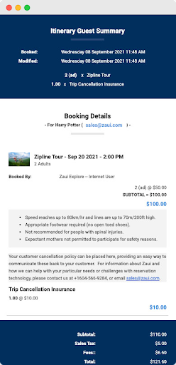 Automated booking confirmation email from Zaui